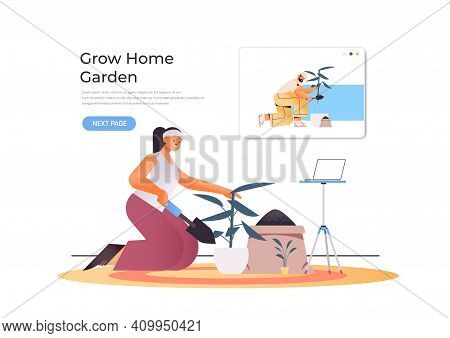 Young Woman Growing Plants While Watching Online Video Course To Learning To Planting On Laptop Scre