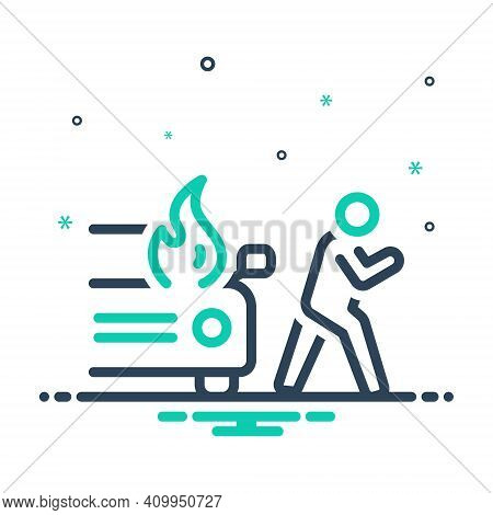 Mix Icon For Sudden Unexpected Incident Accident Burning Danger Explosion Extinguish