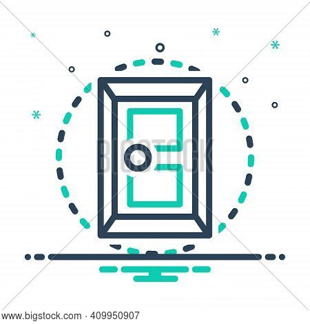 Mix Icon For Door Doorknob Close Design Entrance Gateway Inlet Doorway Exit Entry Interior