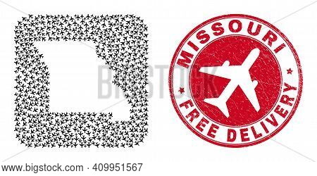Vector Mosaic Missouri State Map Of Aircraft Elements And Grunge Free Delivery Seal Stamp.