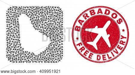 Vector Collage Barbados Map Of Aviation Items And Grunge Free Delivery Seal Stamp. Collage Geographi