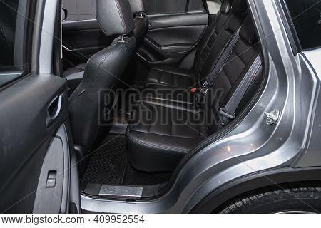 Novosibirsk, Russia - February 22 2021:  Mazda Cx-5, Rear Seat For Passengers In Black Textile, Open