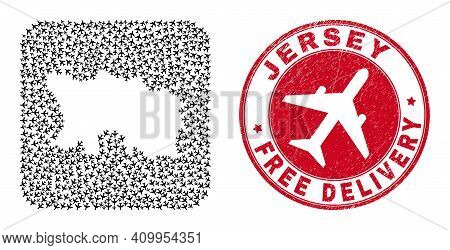 Vector Collage Jersey Island Map Of Airplane Elements And Grunge Free Delivery Seal Stamp.