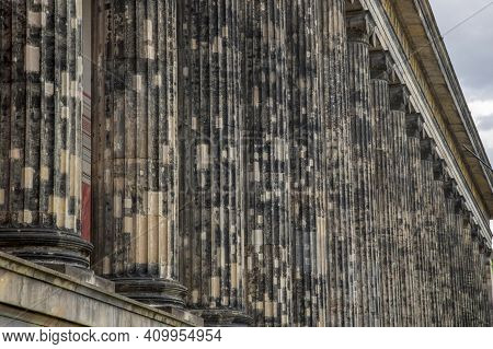 Berlin, Germany - July 01, 2018: Columns Of The Altes Museum On The Museum Island.