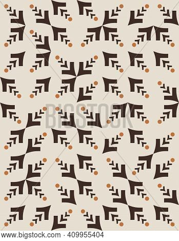 Vector Eps Geometric With V-shaped Figures And Dots Seamless  Patterns In Earth-toned Hues To Create