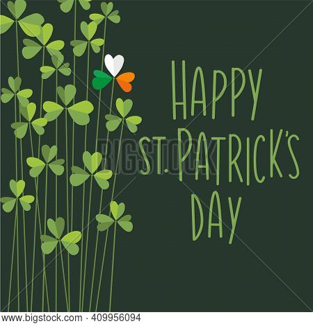 Happy St. Patrick's Day Design With Tall Shamrocks. One Shamrock With Flag Colors Of Ireland. Vector