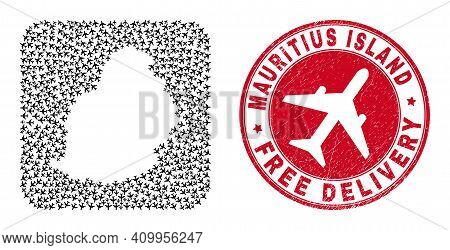 Vector Collage Mauritius Island Map Of Air Plane Items And Grunge Free Delivery Stamp.