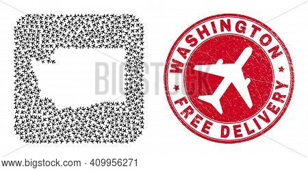 Vector Collage Washington State Map Of Aircraft Elements And Grunge Free Delivery Seal. Collage Geog