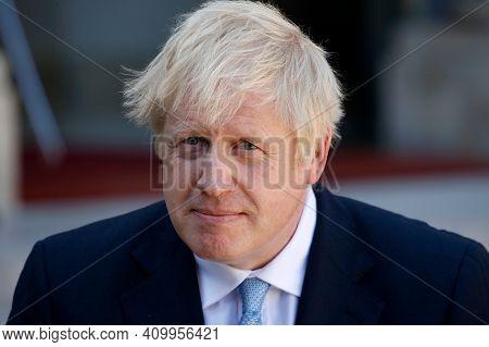 London,united Kingdom,december 2020,britain Prime Minister Boris Johnson In Press Meet