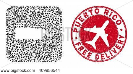 Vector Mosaic Puerto Rico Map Of Jet Vehicle Items And Grunge Free Delivery Seal. Mosaic Geographic