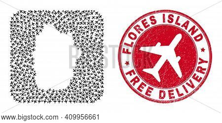 Vector Mosaic Flores Island Of Azores Map Of Airplane Elements And Grunge Free Delivery Badge.