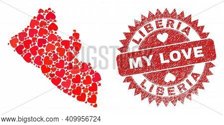 Vector Mosaic Liberia Map Of Love Heart Elements And Grunge My Love Seal. Mosaic Geographic Liberia