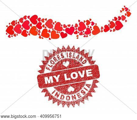 Vector Mosaic Flores Island Of Indonesia Map Of Lovely Heart Elements And Grunge My Love Seal Stamp.