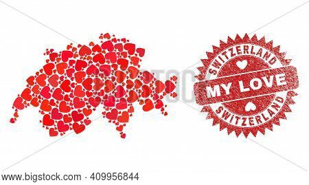 Vector Collage Switzerland Map Of Lovely Heart Items And Grunge My Love Seal. Collage Geographic Swi
