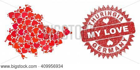 Vector Collage Thuringia Land Map Of Valentine Heart Items And Grunge My Love Seal Stamp. Collage Ge