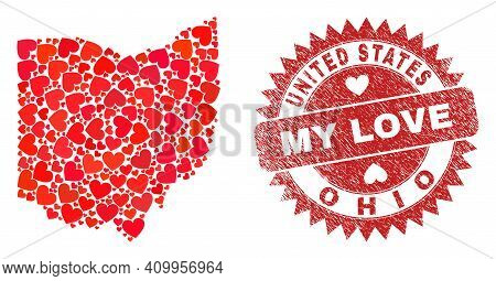 Vector Mosaic Ohio State Map Of Lovely Heart Items And Grunge My Love Seal Stamp. Mosaic Geographic