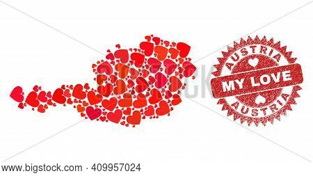 Vector Mosaic Austria Map Of Love Heart Elements And Grunge My Love Seal Stamp. Mosaic Geographic Au