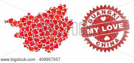 Vector Mosaic Guangxi Province Map Of Love Heart Items And Grunge My Love Seal. Collage Geographic G