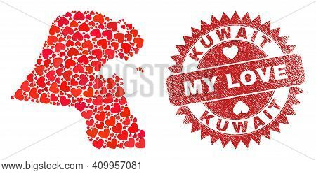 Vector Mosaic Kuwait Map Of Love Heart Items And Grunge My Love Seal. Mosaic Geographic Kuwait Map C
