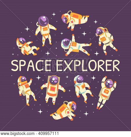 Space Explorer Banner Template, Astronaut In Outer Space Pattern Of Circular Shape, Space Exploratio