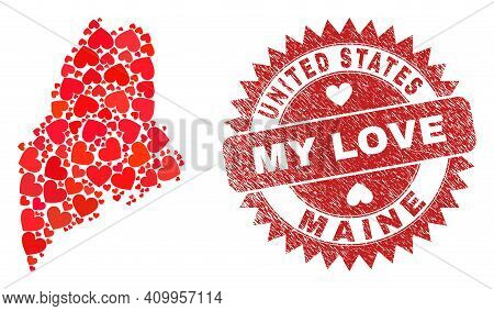 Vector Mosaic Maine State Map Of Valentine Heart Elements And Grunge My Love Badge. Mosaic Geographi