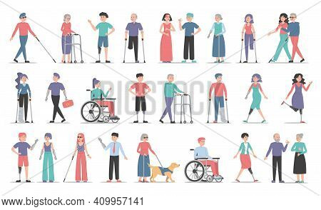 Disabled People Set. Collection Of Characters With Disability. Deaf, Blind And Handicapped Women And