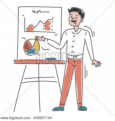 Business Person Is Showing Presentation Vector Isolated