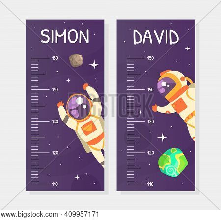 Kids Height Chart, Stadiometer Template, Height Measure Wall Meter With Astronaut In Outer Space Car