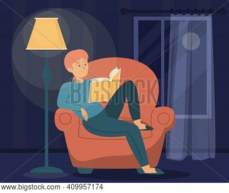Man Reading Book In The Dark. Male Character