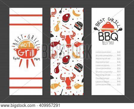 Bbq Bistro Menu Template Design, Best Gril House, Restaurant, Bar Poster, Invitation, Flyer, Promo D