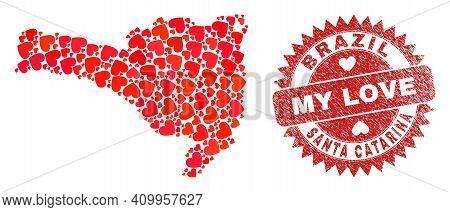 Vector Mosaic Santa Catarina State Map Of Love Heart Items And Grunge My Love Seal. Mosaic Geographi