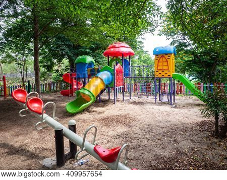 The Colorful Playground On Yard In The Park.
