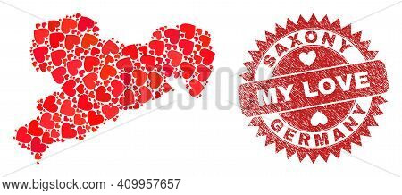 Vector Collage Saxony Land Map Of Love Heart Elements And Grunge My Love Badge. Collage Geographic S