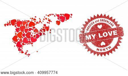 Vector Collage North America And Greenland Map Of Lovely Heart Elements And Grunge My Love Badge. Co