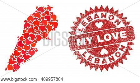 Vector Collage Lebanon Map Of Love Heart Elements And Grunge My Love Stamp. Mosaic Geographic Lebano