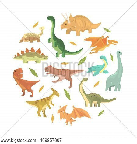 Cute Colorful Dinosaurs In Circular Shape, Cute Prehistoric Animals Banner, Card, Background Desin C