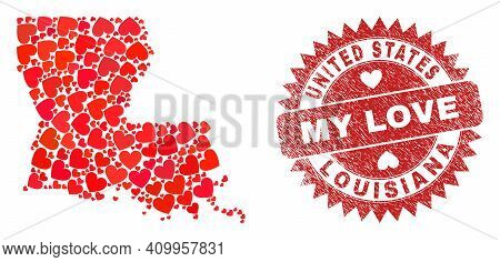 Vector Collage Louisiana State Map Of Valentine Heart Items And Grunge My Love Seal. Mosaic Geograph