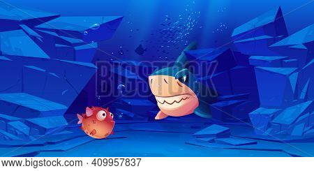 Shark And Puffer Fish In Sea Or Ocean Bottom With Rocks Around. Underwater Creatures With Cute And A