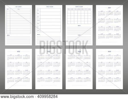 2022 2023 2024 2025 Calendar Daily Weekly Monthly Personal Planner Diary Template In Classic Strict