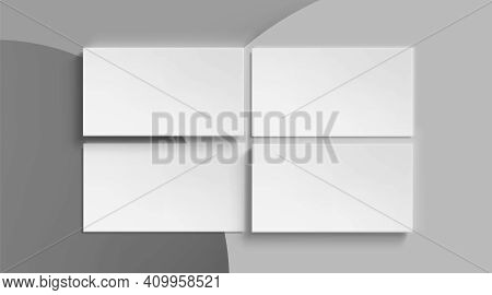 Blank Business Cards Template On Gray Abstract Background. Vector Realistic Mockup Of 3d White Name