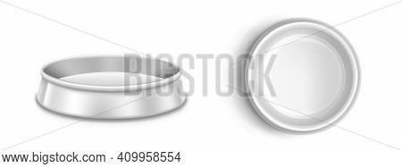 Metal Pet Bowl, Plate For Dog Or Cat In Front And Top View. Vector Realistic Mockup Of Blank Steel D