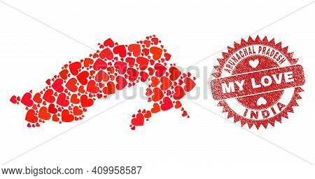 Vector Collage Arunachal Pradesh State Map Of Lovely Heart Items And Grunge My Love Stamp. Mosaic Ge