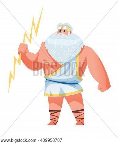 Zeus. Ancient Greek God With Lightning In His Hand. The Mythological Deity Of Olympia. Vector Illust