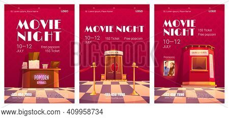 Movie Night Posters. Cinema Festival, Night Event In Movie Theater. Vector Flyers With Cartoon Illus
