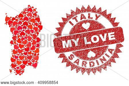 Vector Mosaic Sardinia Map Of Valentine Heart Elements And Grunge My Love Seal Stamp. Mosaic Geograp