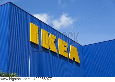 Bangkok,thailand - Oct 25 :the Ikea Logo In Thailand On Oct 25,2015. Ikea Is The World\'s Largest Fu
