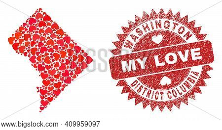 Vector Collage Washington District Columbia Map Of Valentine Heart Items And Grunge My Love Badge. C