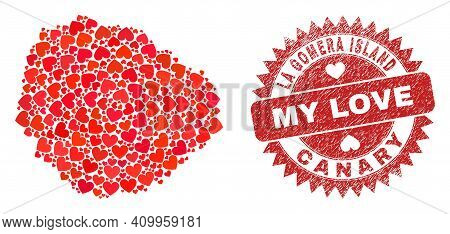 Vector Collage La Gomera Island Map Of Love Heart Items And Grunge My Love Seal Stamp. Collage Geogr