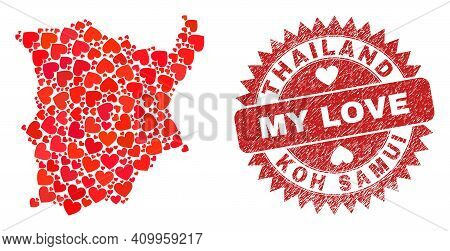 Vector Collage Koh Samui Map Of Lovely Heart Elements And Grunge My Love Seal. Collage Geographic Ko