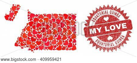 Vector Collage Equatorial Guinea Map Of Valentine Heart Items And Grunge My Love Stamp. Mosaic Geogr
